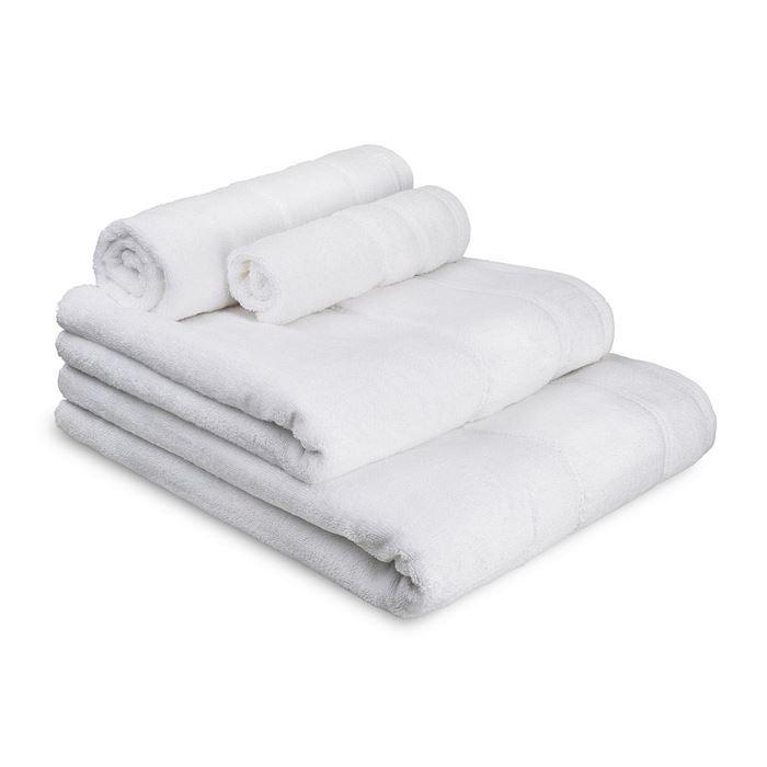 תמונה של מגבת פס קטיפה לבן