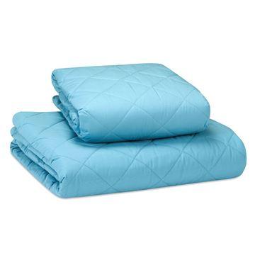 תמונה של כיסוי מיטה כותנה תכלת