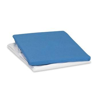 תמונה של זוג סדינים למיטת תינוק כחול ולבן