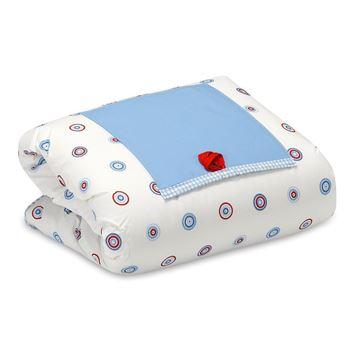 תמונה של שמיכה לעגלה עיגולים תכלת